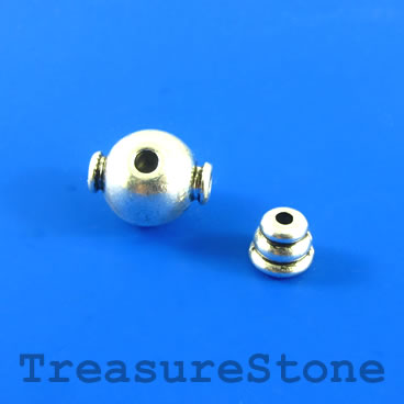 Bead, silver-finished, 11mm Guru bead set. Two sets.