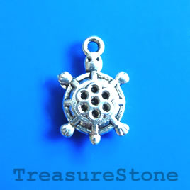 Charm/Pendant, silver-plated, 13x15mm turtle. Pack of 10.