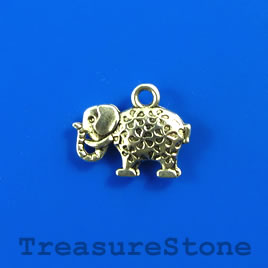 Charm, silver-finished, 12x17mm elephant. Pkg of 14.