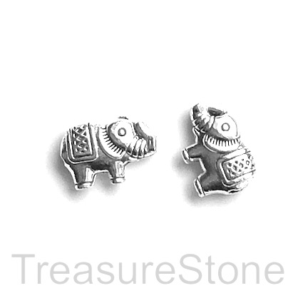 Bead, antiqued silver finished, 9x13mm elephant. Pkg of 10