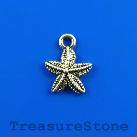 Charm, silver-finished, 13mm starfish. Pkg of 15.