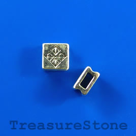 Bead, silver-colored, 7mm square. Pkg of 11.