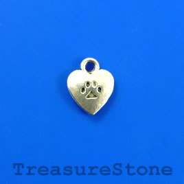 Charm, silver-finished, 10mm heart, love dogs. Pkg of 15.