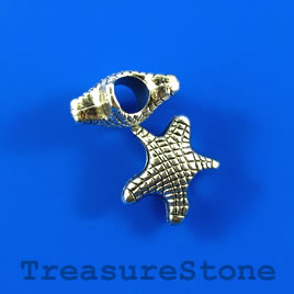 Bead, silver-colored, 14mm starfish, large hole. Pkg of 8.