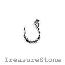 Charm, silver-plated, 10mm horseshoe. Pack of 18.