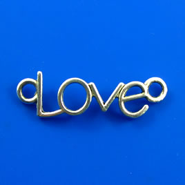 "Link/pendant, silver-finished, 10x35mm ""Love"". Pkg of 8"