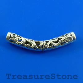 Bead,silver-plated,48mm filigree curved tube. Sold individually.