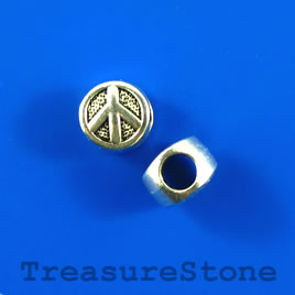 Bead, silver-colored, 10mm peace sign, large hole. Pkg of 9.