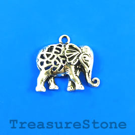 Pendant, silver-finished, 23x30mm elephant. Pkg of 3.