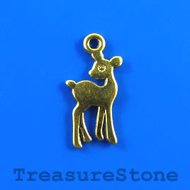 Charm, gold-finished, 11x17mm deer. Pkg of 12.