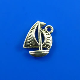 Charm, silver-finished, 13x17mm boat. Pkg of 12.