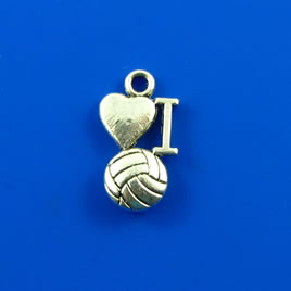 Charm, silver-finished, 10x14mm I love volleyball. Pkg of 10.