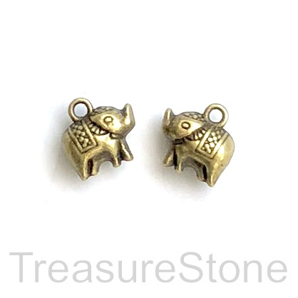 Charm, brass-plated, 8x11mm elephant. Pkg of 10.