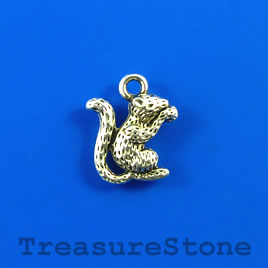 Charm, silver-finished, 14mm squirrel. Pkg of 6.