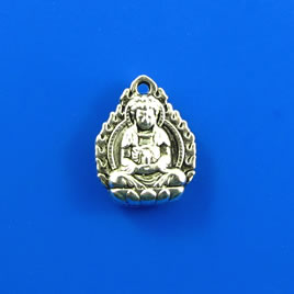 Charm, silver-finished, 12x13mm buddha. Pkg of 8.