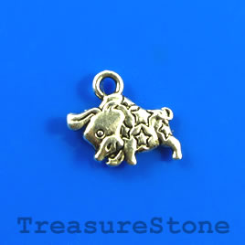 Charm, silver-finished, 10x16mm Taurus. Pkg of 12.
