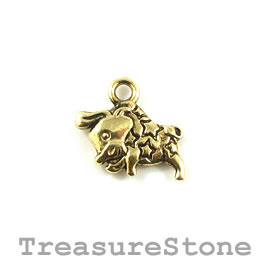 Charm/Pendant, gold colored, 16x10mm Taurus. Pack of 12.