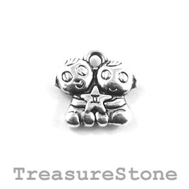 Charm/Pendant, silver-plated, 14mm Gemini. Pack of 10.