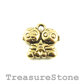 Charm/Pendant, gold-plated, 14mm Gemini. Pack of 10.