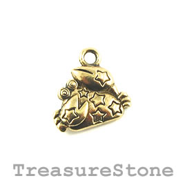 Charm/Pendant, gold-plated, 11mm Cancer. Pack of 10.