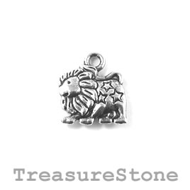 Charm/Pendant, silver-plated, 13mm Leo. Pack of 12.