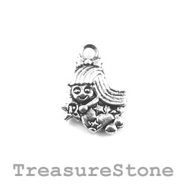 Charm/Pendant, silver-plated, 12mm Virgo. Pack of 12.