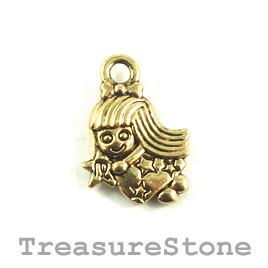 Charm/Pendant, gold-plated, 12mm Virgo. Pack of 12.