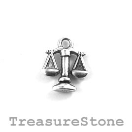Charm/Pendant, silver-plated, 12mm Libra. Pack of 12.