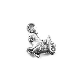 Charm/Pendant, silver-plated, 11mm Aries. Pack of 12.