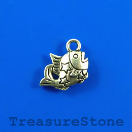 Charm, silver-finished, 12x14mm fish. Pkg of 12.