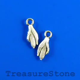 Charm/pendant, silver-plated, 6x12mm corn. Pkg of 12.