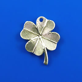 Charm, silver-finished,18x22mm shamrock/ 4-leaf clover. Pkg of 8