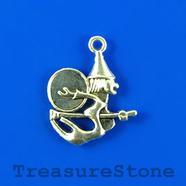 Charm/pendant, silver-plated, 20mm witch on broom. Pkg of 10.