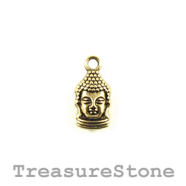 Charm, gold-plated, 8x14mm Buddha head. Pkg of 10.