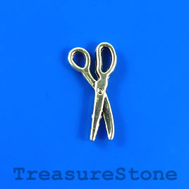 Charm/pendant, silver-plated, 9x17mm scissors. Pkg of 12.