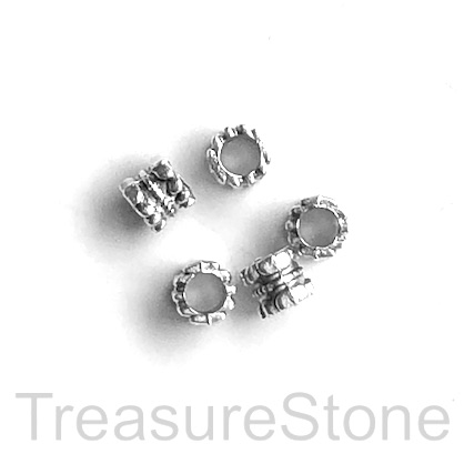 Bead, antiqued silver finished, 5mm tube, hole, 2mm. Pkg of 15.