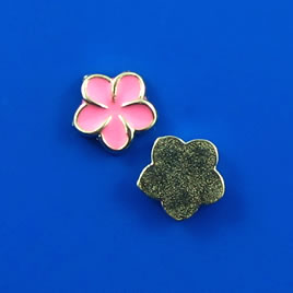 Floating charm, silver-finished, 8mm pink flower. Pkg of 8.