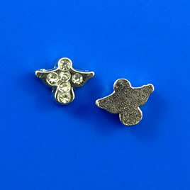 Floating charm, silver-finished, 7x8mm bird, crystal. Pkg of 8.
