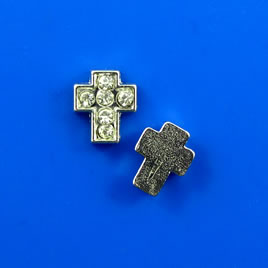 Floating charm, silver-finished, 7x8mm cross, crystal. Pkg of 8.