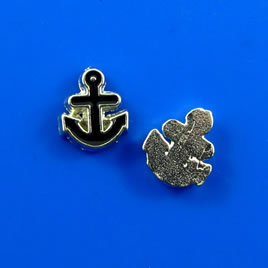 Floating charm, silver-finished, 9x10mm black anchor. Pkg of 8.