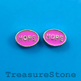 "Floating charm, silver-finished, 6x9mm ""HOPE"". Pkg of 10."