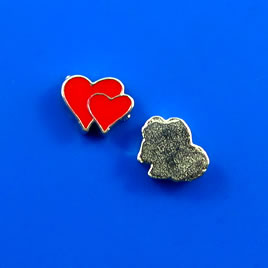 Floating charm, silver-finished, 7x8mm double-hearts. Pkg of 10.