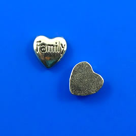 "Floating charm, silver-finished, 5x6mm heart ""Family"". Pkg of 20"