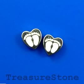 Floating charm, silver-finished, 7mm heart with feet. Pkg of 10.