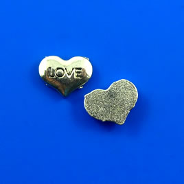 "Floating charm, silver-finished, 7x9mm heart ""LOVE"". Pkg of 20."