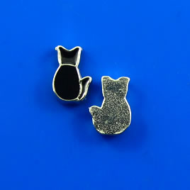 Floating charm, silver-finished, 6x9mm black cat. Pkg of 10.