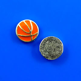 Floating charm, silver-finished, 9mm basketball. Pkg of 8.