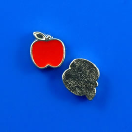 Floating charm, silver-finished, 7mm red apple. Pkg of 8.