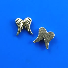 Floating charm, silver-finished, 7mm wings. Pkg of 20.