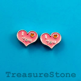 "Floating charm, silver-finished, 8x10mm heart ""I love You"". 8pcs"